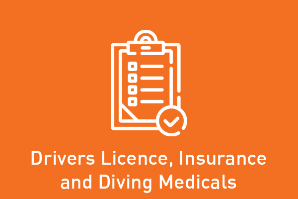 Drivers Licence, Insurance and Diving Medicals
